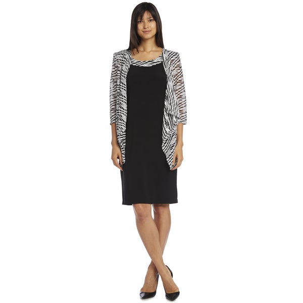 R&M Richards Black and White Mock Sheer Jacket Dress
