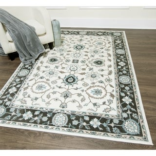 Home Dynamix Oxford Collection Cream/GreyTransitional Machine Made Polypropylene Area Rug (5'2 x 7'2)