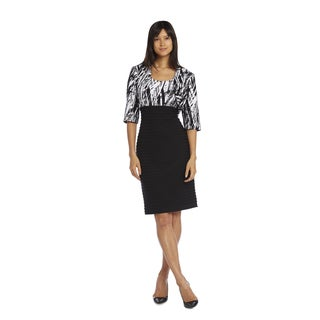 R&M Richards Black and White Air Tuck Jacket Dress