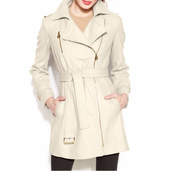 Michael Michael Kors Ivory Belted Asymmetrical Wool Walker Coat