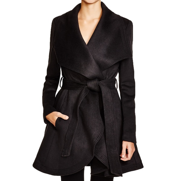 BCBGMAXAZRIA Amanda Black Wool Wrap Flared Coat