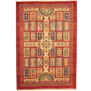 Herat Oriental Indo Hand-knotted Tribal Kazak Red/ Ivory Wool Rug (4' x 6')