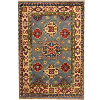 Herat Oriental Indo Hand-knotted Tribal Kazak Light Blue/ Ivory Wool Rug (4' x 6')
