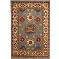 Herat Oriental Indo Hand-knotted Tribal Kazak Light Blue/ Ivory Wool Rug (4' x 6')