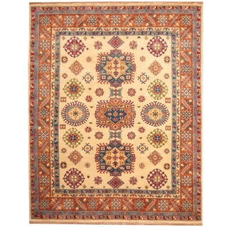 Herat Oriental Indo Hand-knotted Tribal Kazak Ivory/ Rust Wool Rug (8' x 10')