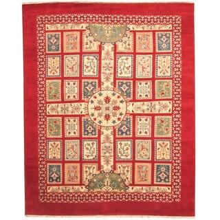 Herat Oriental Indo Hand-knotted Tribal Kazak Red/ Ivory Wool Rug (8' x 10')