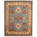 Herat Oriental Indo Hand-knotted Tribal Kazak Light Blue/ Ivory Wool Rug (8' x 10')