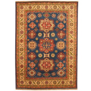 Herat Oriental Indo Hand-knotted Tribal Kazak Blue/ Ivory Wool Rug (6' x 9')