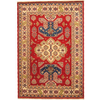 Herat Oriental Indo Hand-knotted Tribal Kazak Red/ Ivory Wool Rug (6' x 9')