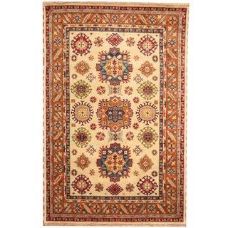 Herat Oriental Indo Hand-knotted Tribal Kazak Ivory/ Rust Wool Rug (6' x 9')