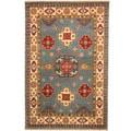 Herat Oriental Indo Hand-knotted Tribal Kazak Light Blue/ Ivory Wool Rug (6' x 9')