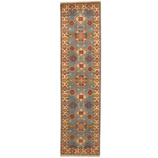 Herat Oriental Indo Hand-knotted Tribal Kazak Light Blue/ Ivory Wool Runner (2'6 x 10')