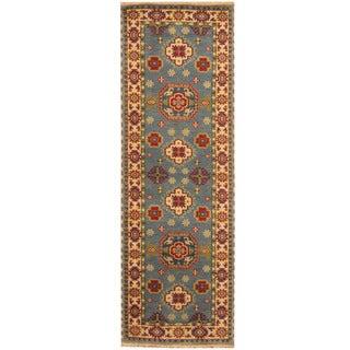 Herat Oriental Indo Hand-knotted Tribal Kazak Light Blue/ Ivory Wool Runner (2'6 x 8')