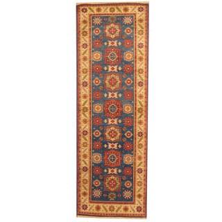 Herat Oriental Indo Hand-knotted Tribal Kazak Blue/ Ivory Wool Runner (2'6 x 8')