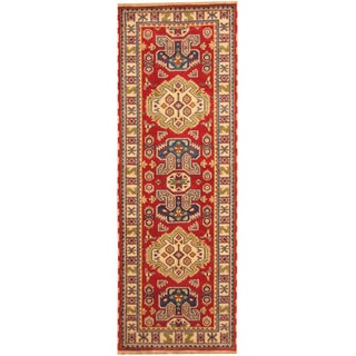 Herat Oriental Indo Hand-knotted Tribal Kazak Red/ Ivory Wool Runner (2'6 x 8')