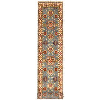 Herat Oriental Indo Hand-knotted Tribal Kazak Light Blue/ Ivory Wool Runner (2'6 x 20')