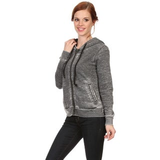 MOA Collection Women's Mineral Wash Zipper Hoodie