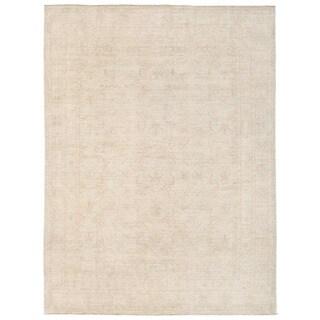 Herat Oriental Afghan Hand-knotted Whitewashed Vegetable Dye Oushak Ivory/ Beige Wool Rug (5'11 x 7'10)
