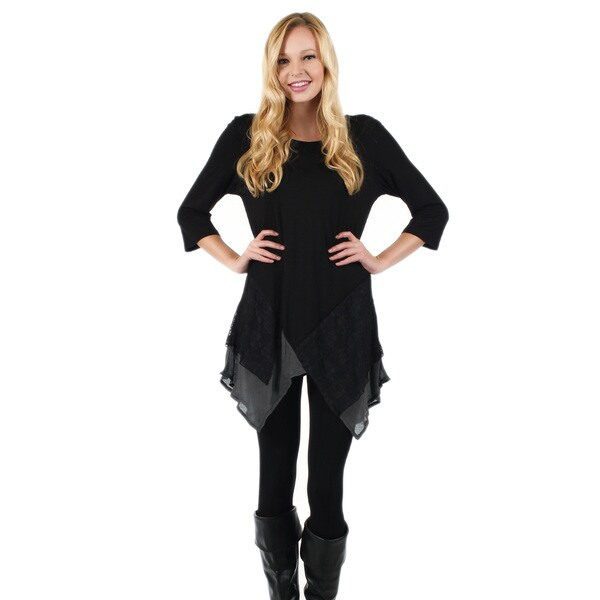 Women's 3/4 Sleeve Black and Grey with Lace Overlay Side Tail Tunic