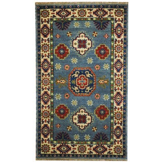 Herat Oriental Indo Hand-knotted Tribal Kazak Light Blue/ Ivory Wool Rug (3' x 5')