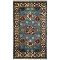 Herat Oriental Indo Hand-knotted Tribal Kazak Light Blue/ Ivory Wool Rug (3' x 5')
