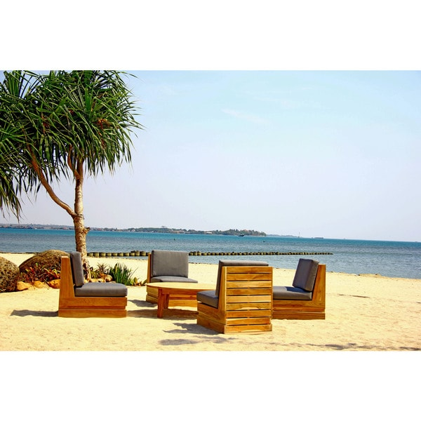 Seaside 4-person Teak Deep Seating Patio Set with Sunbrella Cushions