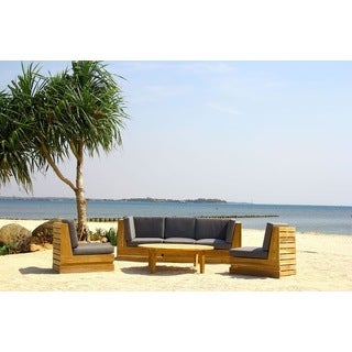Seaside 5-person Teak Deep Seating Set with Chat Table