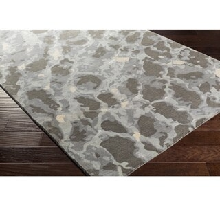 William Mangum : Hand Tufted Blach Wool/Viscose Rug (4' x 6')