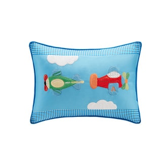 Mi Zone Kids Truck Zone Plush Airplane Applique and Printed Oblong Pillow