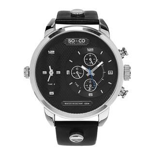 SO&CO MW5230SO New York Men's SoHo Quartz Leather Strap Watch