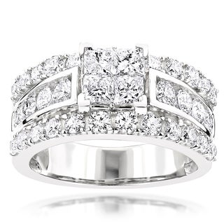 Luxurman 14k White Gold 3ct TDW Diamond Designer Engagement Ring (G-H, SI1-SI2)