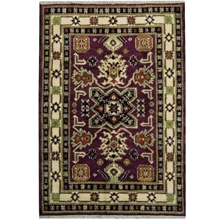 Herat Oriental Indo Hand-knotted Tribal Kazak Purple/ Ivory Wool Rug (4'7 x 6'8)