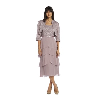 R&M Richards Women's Rose Lace Jacket Dress