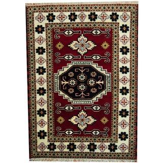 Herat Oriental Indo Hand-knotted Tribal Kazak Red/ Ivory Wool Rug (4'8 x 6'5)