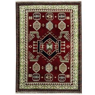 Herat Oriental Indo Hand-knotted Tribal Kazak Red/ Ivory Wool Rug (4'9 x 6'7)