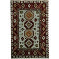 Herat Oriental Indo Hand-knotted Tribal Kazak Gray/ Red Wool Rug (4' x 6'1)