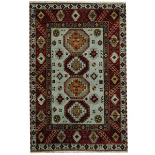 Herat Oriental Indo Hand-knotted Tribal Kazak Gray/ Red Wool Rug (4' x 6'1)