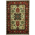 Herat Oriental Indo Hand-knotted Tribal Kazak Ivory/ Salmon Wool Rug (4'2 x 6')