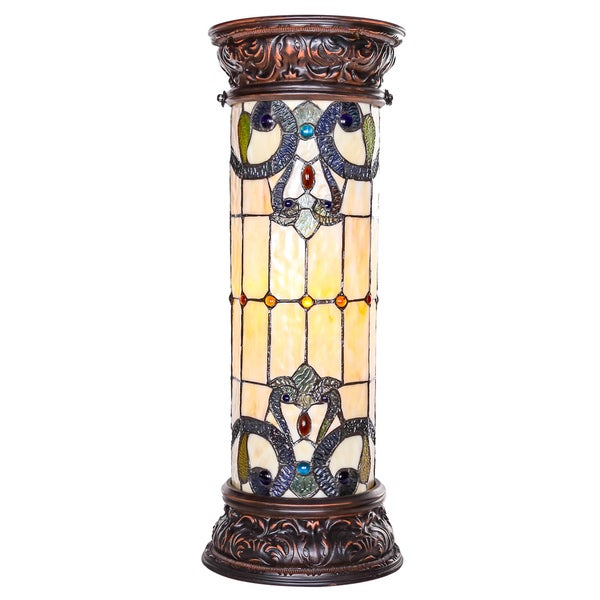 "27"" H Stained Glass Magna Carta Lit Pedestal- Amber"
