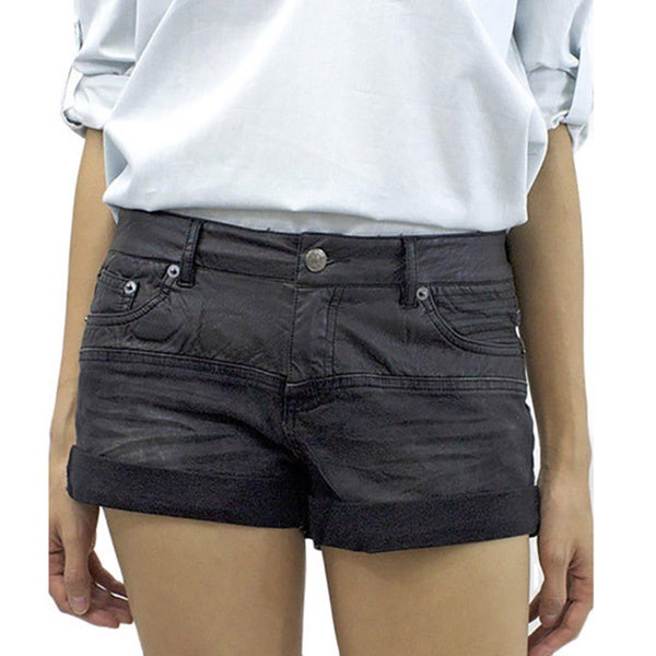 Relished Women's Revel Leatherette Denim Shorts