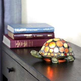 "3.5""H Stained Glass Spotted Turtle Accent Lamp"