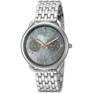 Fossil Women's ES3911 Tailor Multi-Function Grey Mother Of Pearl Dial Stainless Steel Bracelet Watch