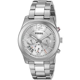 Fossil Women's ES3883 Perfect Boyfriend Dual Zone Multi-Function Silver Dial Stainless Steel Bracelet Watch