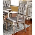 Glamorous Design Metallic Platinum Dining Arm Chairs with Rhinestone Tufted Buttons (Set of 2)