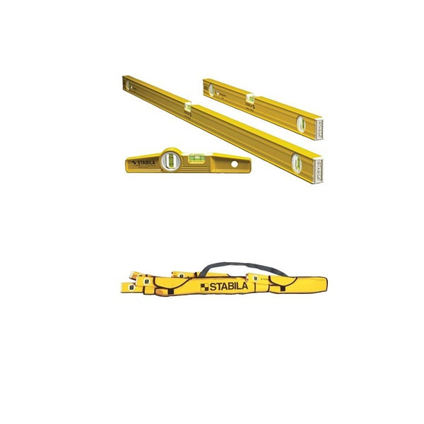 Stabila 29924 (3) Level Magnetic Pro-Set + 30015 5-Pocket Case