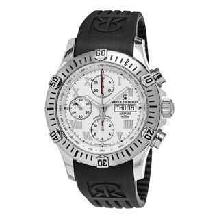 Revue Thommen Men's 16071.6838 'Air Speed' Silver Dial Black Rubber Strap Chronograph Swiss Watch