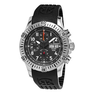 Revue Thommen Men's 16071.6834 'Air Speed' Black Dial Black Rubber Strap Chronograph Swiss Automatic Watch