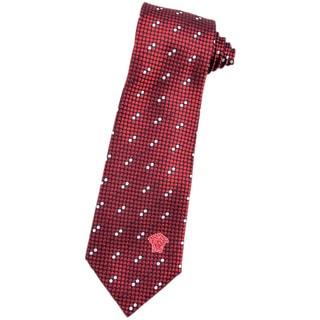 Versace Red/ White Italian Silk 3-inch Wide Neck Tie