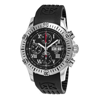 Revue Thommen Men's 16071.6837 'Air Speed' Black Dial Black Rubber Strap DayDate Chronograph Swiss Automatic Watch