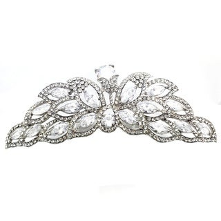 Kate Marie CWN-DH6156 Silver Cubic Zirconia and Crystal Crown Tiara Comb